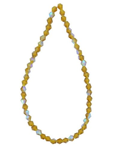 Tennessee Crafts TC Beads 2480 Faceted Bicone Glass Bead, Amber, 4mm, 50-Piece