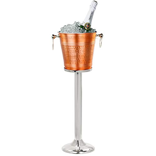 Hammered Copper Lightweight Ice Bucket  Highly Conductive Cooler & Cellar Bucket With Nickel Plated Free Stand   Kitchen Ware & Bar Wares (On Stands Ice Buckets)