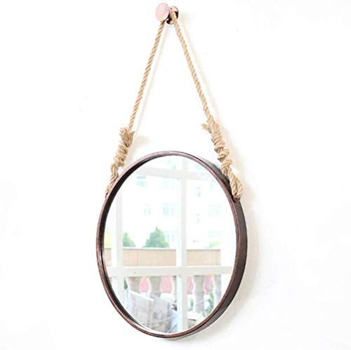 Wall Hanging Vanity Mirror Round with Hemp Rope | Make-up Mirror with Metal Frame | Bathroom HD Dressing Makeup Mirror Circle Shaving Mirror Large; (Gold Circle Spiegel)