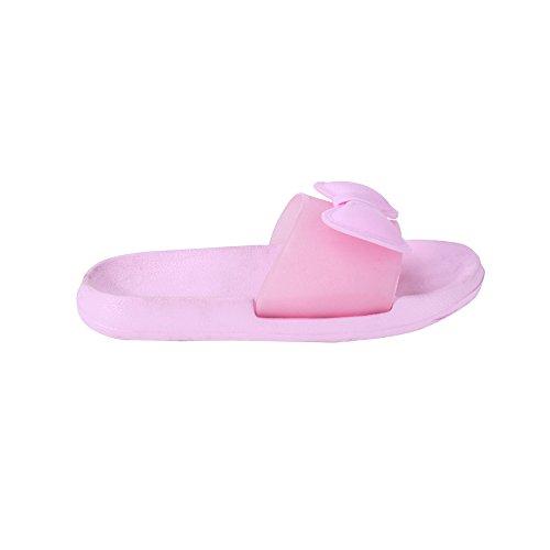 WILLIAM&KATE Deslizadores de colores para las mujeres en verano Casual Deslizadores antideslizantes Deslizadores de piso de interior Sandalias de baño Rosado