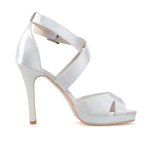Peep alti bianca Shoes lavoro da Scarpe da scarpe Womens festa da Tacchi sposa Tacchi Alti Toe Zxstz Sandali Ox5gwTW