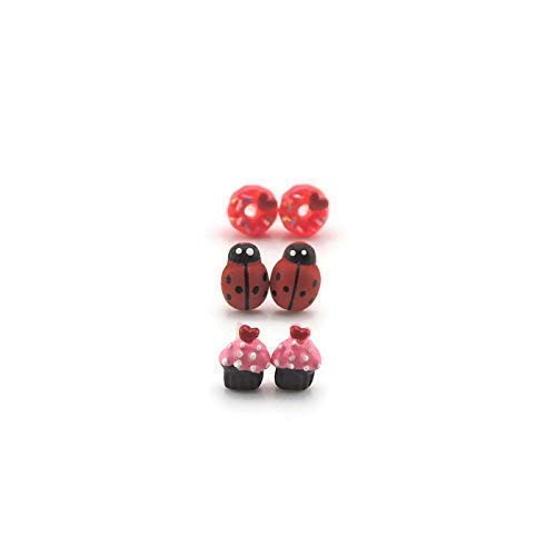Ladybug, Donut, Cupcake Plastic Post Metal Free Earring Gift Set (Ladybug Resin Earrings)