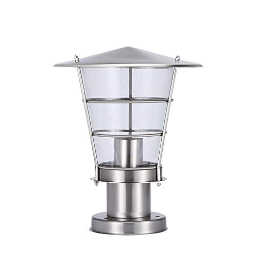 Moddeny Minimalism Stainless Steel Pillar Light Column Lamp Outdoor Waterproof Garden Pillar Post Lantern European Villa Patio Fence Landscape Patio Lighting with Acrylic Lampshade E27