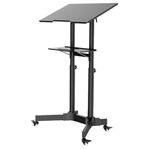 1home Mobile Stand Up Desk Ajustable Laptop Workstation Muti-Purpose Rolling Podium Lecternwith Wheels