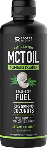 Emulsified MCT Oil (16oz) Made from Non-GMO Coconuts ~ Non-Dairy Creamer for Cold Brew, Keto Coffee, Protein Shakes, Salads & More ~ No Blending Required ! (Creamy Coconut Flavor) For Sale