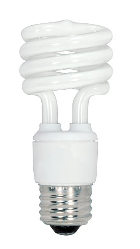 Satco S6236 13-Watt Medium Base T2 Mini Spiral, 4100K, 120V, Equivalent to 60-Watt Incandescent Lamp for Enclosed Fixtures,Pack of 4 -