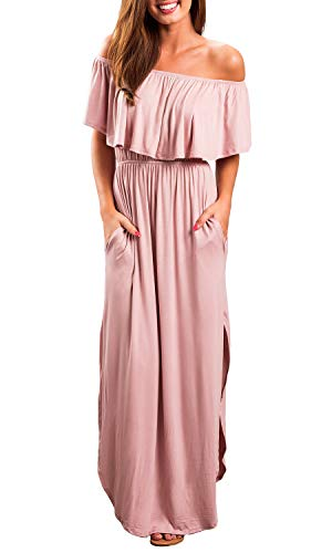 OYANUS Womens Summer Off The Shoulder Ruffle Side Split Casual Beach Cover up Long Maxi Dresses with Pockets Pink L