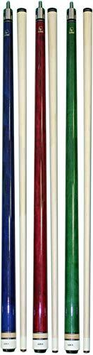 Aska ラップレスL3 ビリヤードキュー3本セット 58インチ ハードロック カナディアンメープル 13mm ハードLe Proチップ ミックスウェイト ブルー グリーン レッド
