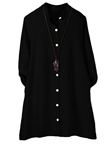 Minibee Women's Button Down Jacket Long Sleeve Jacquard Blouses Cardigan Black XL