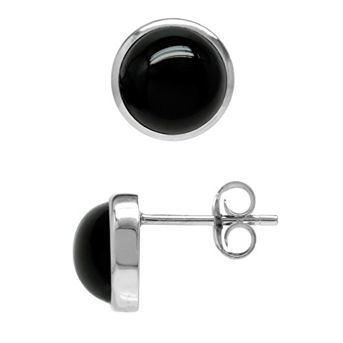 (7MM Genuine Black Onyx White Gold Plated 925 Sterling Silver Stud/Post Earrings)