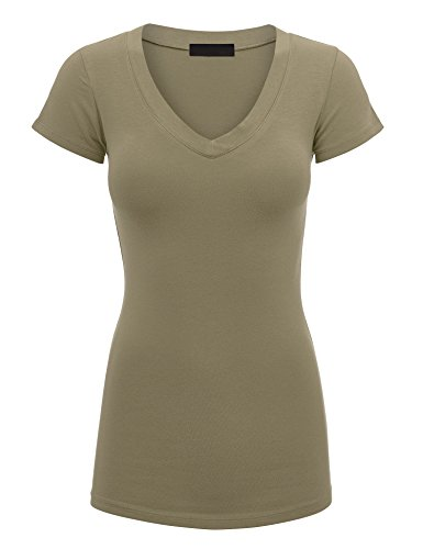 Lock and Love WT1606 Womens Basic Fitted Short Sleeve V-Neck T Shirt S (Definition Fitted T-shirt)