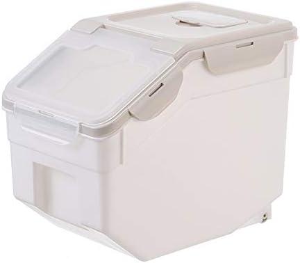 米びつ 保存容器 ホイール用キッチン3色で10キロライス保存容器プラスチック台所ライスボックス封印された穀物穀物オーガナイザー 米粉シリアルキッチン収納用 (Color : Green, Size : Free)