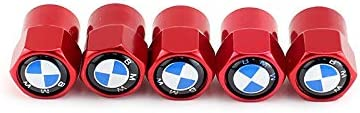 Red TK-KLZ 5Pcs Metal Car Wheel Tires Valve Stem Caps for BMW GT X1 X2 X3 X4 X5 X6 X7 M 1 2 3 5 6 7 8 Series M2 M3 M4 M5 Z4 i3 i8 Decorative Accessories