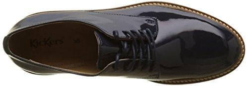 Azul Marine Mujer para Vernis Kickers Derby Fonce Zapatos Cordones Oxfork 102 de wq1g08