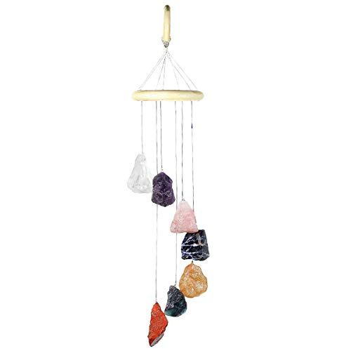 Fluorite Ring Yellow - mookaitedecor 7 Raw Stones Rough Crystals Wind Chimes for Home Garden Decoration 17-21 Inches