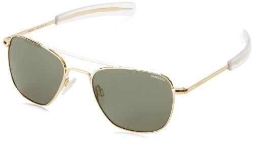 Randolph Aviator Square Sunglasses, 52 MM, 23K Gold, Bayonet, AGX - Size By Sunglasses