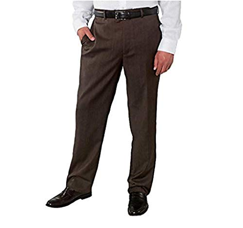 Kirkland Signature Men's Wool Gabardine Pleated Dress Slack Pant (BrownHerringbone, 44x32)
