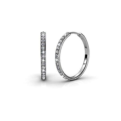 7509d2ef4 Women's Round Hoop Earring 18k White Gold Swarovski Crystals, Fabulous  Sparkling Mother's Day Present Perfect