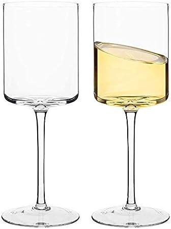 Copa Cuadrada Copa De Vino Copa De Vino Tinto Grande Copa De Champán Copa De Vino Blanco Damas, Hombres, Bodas, Aniversarios (Color : Clear, Size : 480ML*2)