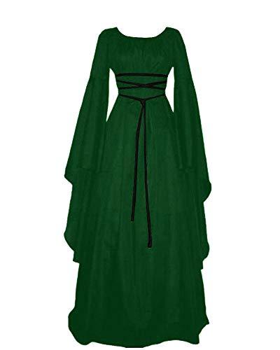 Halloween Vintage Retro Medieval High Waist Skirt Cocktail Dress Green XL -