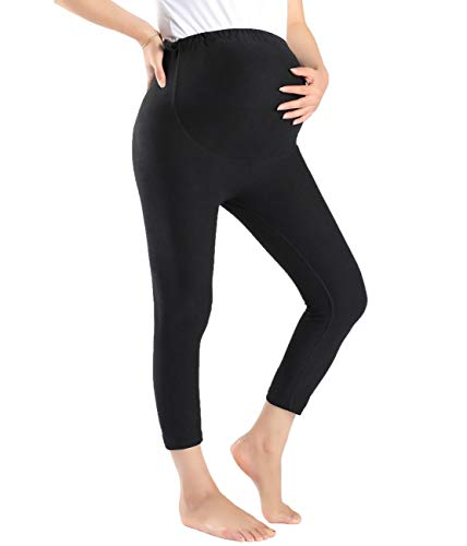 Foucome Women's Maternity Active Workout Yoga Capri Leggings Over The Belly Pregnancy Tights Pants Black