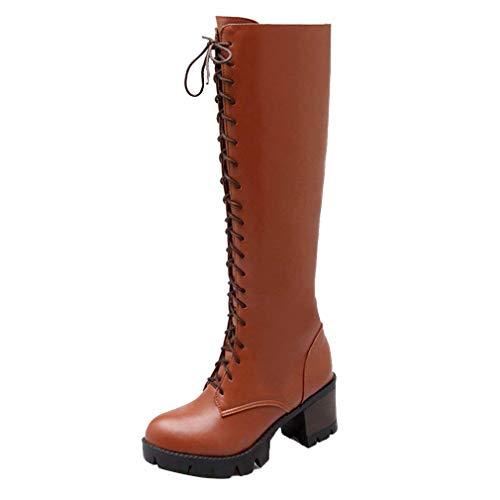 Vitalo Womens Block Heel Lace up Knee High Calf Biker Ladies Zip up Military Combat Boots Brown