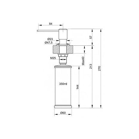Franke Sirius 0.35L Cromo, Acero inoxidable - Dispensador de jabón (270 mm, 8,4 cm, 12,6 cm, 14,4 cm, 4 cm, 2,8 cm): Amazon.es: Bricolaje y herramientas
