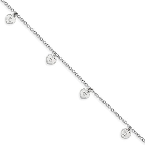 - 925 Sterling Silver Love Heart Dangle Bracelet 7.5 Inch/love Fine Jewelry Gifts For Women For Her