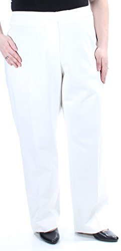 Anne Klein Womens Plus High Rise Suit Seperates Straight Leg Pants White ()