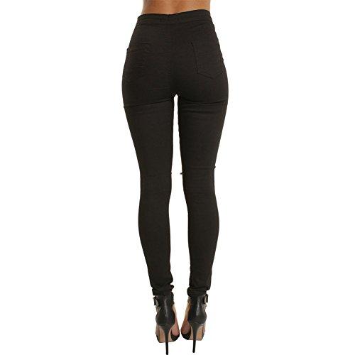Donna Matita Alta Jeans Moda Denim Casuale Nero Vita Pantaloni Skinny Elastici 6aqTf6wrx