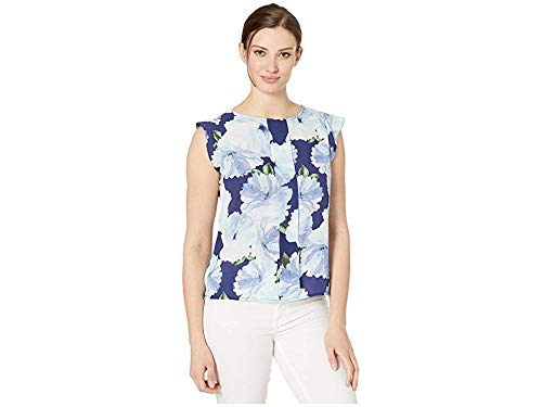 Tahari ASL Women's Cap Sleeve Pleat Front TOP, Navy Floral, L