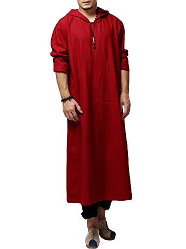 Chellysun Mens Linen Long Sleeve Hooded Kaftan Muslim Arabic Loose Robe Dress Sleepshirt Kangaroo Pockets