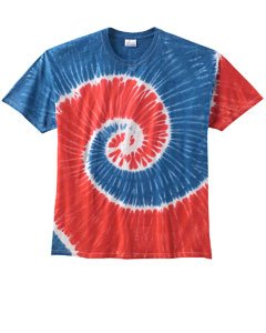 Colortone Adult Multi Color Tie Dye Tee, Royal Red Spiral...