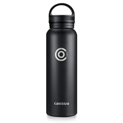 CAMBIVO Water Bottle, Vacuum Insulated, Double Wall, 18/8 Stainless Steel (20 oz (591ml) Standard Mouth, Black) ()