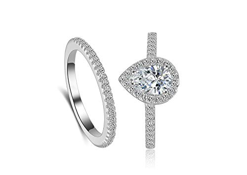 Classic Bridal Ring Set 0.75 Ct Pear Cut Teardrop Halo Ring Eternity Infinity Band Size 4 5 6 7 8 9 10 (Silver, 8) (Square Ring Engagement Sterling Silver)