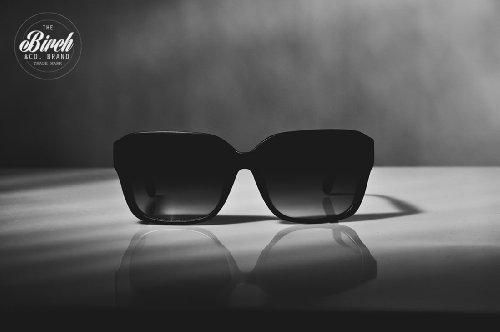 BIRCH's Chic Retro Hipster Style Classic Rectangular Wayfarer Fashion Sunglasses (Gloss Black)