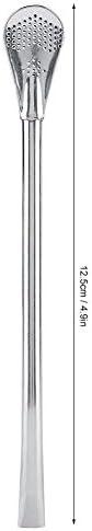 Edelstahl-Strohhalme - Edelstahl-Metall-Trinkhalmlöffel Resuable Waschbare Cocktail-Löffel(small12.5cm)