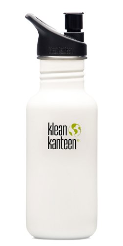 Klean Kanteen 18 oz Stainless Steel Water Bottle (Sport Cap 2.0) - Glacier White