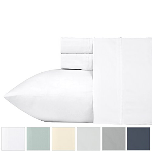 400 Thread Count 100% Cotton Sheet Set, Pure White Queen Sheets Set 4-Piece, Long-staple Combed Pure Natural Cotton Bedsheets, Soft & Silky Sateen Weave by California Design Den