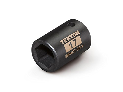 TEKTON 47772 1/2-Inch Drive by 17 mm Shallow Impact Socket, Cr-V, 6-Point