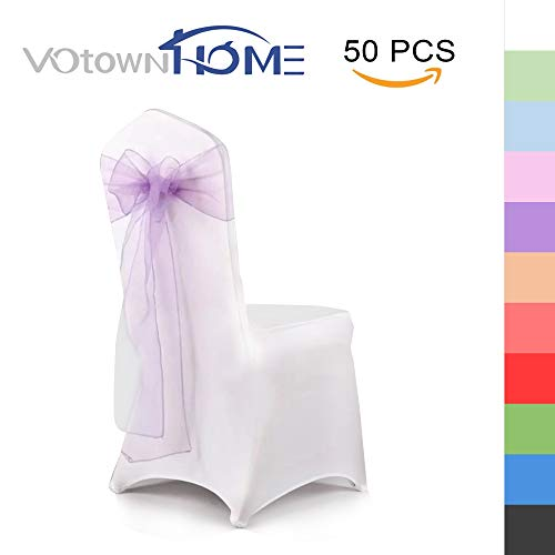 VOTOWN HOME Organza Chair Cover Sashes/Bows Wedding Party Chair Tie Back Sashes Light Purple Sashes for Chair Covers 50Pcs