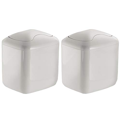mDesign Modern Plastic Square Mini Wastebasket Trash Can Dispenser with Swing Lid for Bathroom Vanity Countertop or Tabletop - Dispose of Cotton Rounds, Makeup Sponges, Tissues - 2 Pack - Light Gray