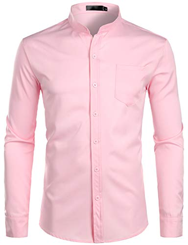 (ZEROYAA Men's Banded Collar Slim Fit Long Sleeve Casual Button Down Dress Shirts with Pocket ZLCL09 Pink Medium)