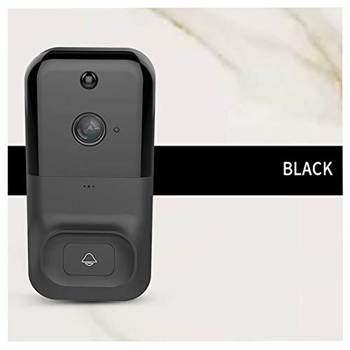 Luiryare Wireless Video Doorbell, WiFi HD Doorbell Camera Security Remote Real-time Video, Two-Way Audio Night Vision, PIR Motion Detection, Ultra-Low Power Consumption (Black, M)