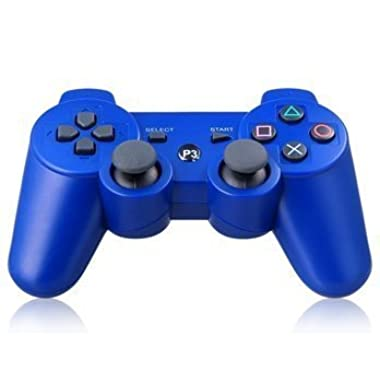 SZJJX Bluetooth Wireless Remote Game Gaming Controller Gamepad Consoles Joypad Joystick Dualshock for Sony Playstation III PS3 with 6-Axis And Dual-Vibration (Blue)