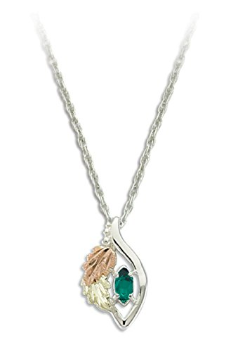 - Created Emerald Marquise May Birthstone Pendant Necklace, Sterling Silver, 12k Green and Rose Gold Black Hills Gold Motif, 18