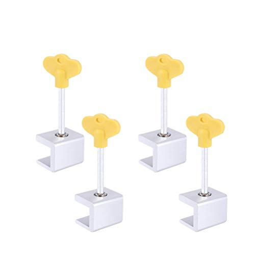 Pack of 4 Sliding Window Locks   Strong Adjustable Window and Door Stoppers with Aluminum Alloy Frame and Stainless Steel Screws   for Child, Elderly and Pet Safety   Anti ()