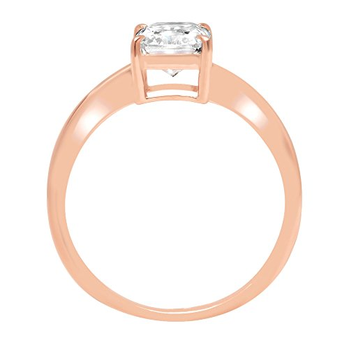 RadiantBrilliant Cut Classic Solitaire Designer Wedding Bridal Statement Anniversary Engagement Promise Ring Solid14k Rose Gold, 1.2ct, 8 by Clara Pucci (Image #1)