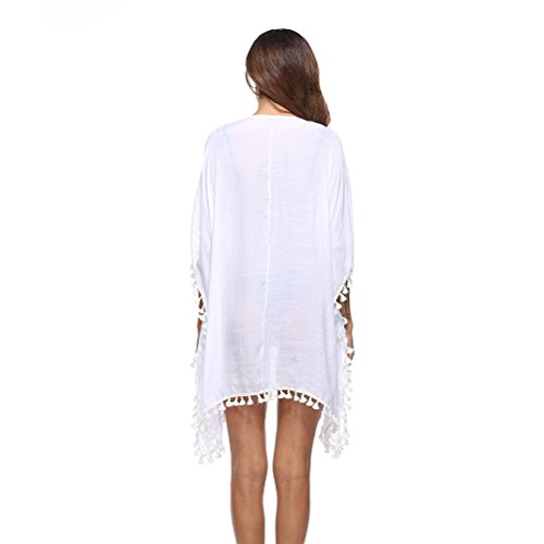 Womens Casual Tassel Beachwear White Holiday up Cover Fashion Dresses Swimsuit Dress Zhhlinyuan Bikini Kaftan HXdvHw