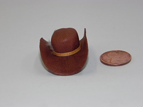 Dollhouse Miniature Western Hat, Leather, Brown Color - Western Miniature